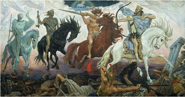 Four Horsemen of the Apocalypse, by Viktor Vasnetsov. Click to enlarge.