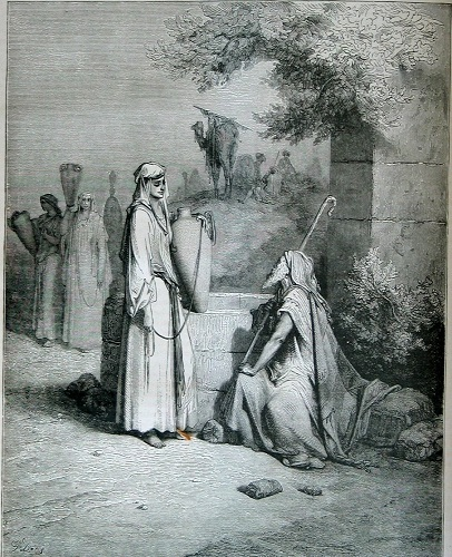 Abraham's son Isaac's future wife Rebekah and his servant Eliezer. Click to enlarge.