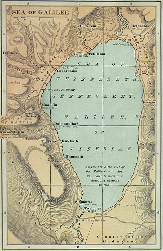Map of the Sea of Galilee. Click to enlarge.